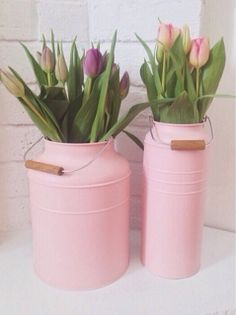Oh I might need the pink as well as the blue! Ikea milk churns with beautiful tulips