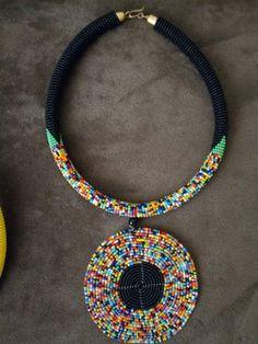 Black multicolour/ Beaded pendant Traditional Zulu necklace/Maasai beaded Neckpiece/Statement Neckpi