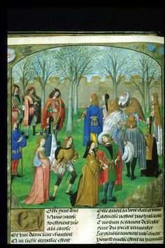 Dancing the Carolle (round dance with music) in the garden of Sir Mirth, watched by the narrator of the Roman de la rose, dressed in blue, at the left. From the Roman de la Rose, Netherlands (Bruges), c. 1490 – c. 1500, Harley MS 4425, f. 14v.