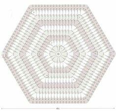 Cojin Hexagon Crochet Pattern, Crochet Hexagon Blanket, Free Crochet Doily Patterns, Crochet Diagram, Crochet Squares, Crochet Granny, Crochet Motif, Crochet Stitches, Crochet Cord