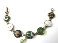 Antique button bracelet, rare Czech glass ROOSTER button, intricate glass & mother of pearl buttons
