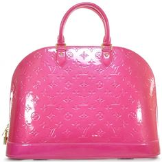 This is an authentic LOUIS VUITTON Vernis Alma MM in Rose Pop.   The bold style and sophisticated features of this Louis Vuitton tote lend a look of casual elegance for everyday.