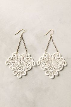 Laced Earrings-easy to make. Just cut lace, cover with mod podge, let dry. Add jump rings, chain and hooks and you're good to go:)