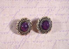 Avon silver tone purple stone pierced earrings 1980s by FrogTears