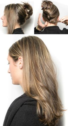 Beauty Hacks - Best Makeup Tips - Recreate the Kim Kardashian wedding hairstyle by tying your front section of hair in a hidden ponytail underneath the hair in the back of your head. To easily achieve this hairstyle, create a sleek, smooth middle part at the front of your head that goes back 3–4 inches, then tease the rest of your hair at the crown of your head. Pull back the hair on either side of the middle part and secure it at the nape of your neck with a small clear hair tie. Cover the…
