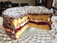 What's better than a chocolatey, coconutty, cream filled, jam embellished lamington? All of the above in a big Chocolate Jam-n-Cream Lamington Sponge Cake! Cake Mix Recipes, Jam Recipes, Sweet Recipes, Baking Recipes, Dessert Recipes, Lamington Cake Recipe, Lamingtons Recipe, Australian Desserts, Australian Recipes