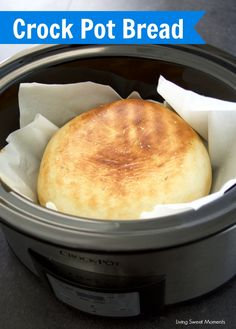 This soft Crock Pot Bread Recipe is super easy to make and does not require any rising time. Perfect for toast, sandwiches, a side for dinner and more.