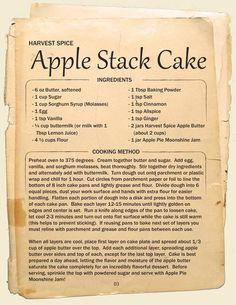 Apple Stack Cake Recipe Box in 2019 Retro Recipes, Old Recipes, Unique Recipes, Vintage Recipes, Apple Recipes, Cooking Recipes, Cooking Ideas, Dishes Recipes, Fast Recipes
