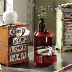 Table d'appoint vintage en métal rouge CALENDRA