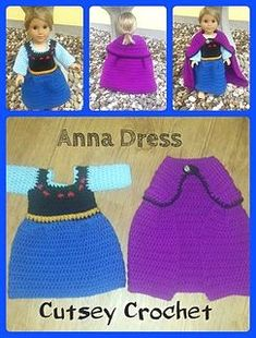 Crochet Doll Anna dress for American Girl doll, This is me a great idea for a tutu dress I want to make, I can use the example of the dress top and then just but the tutu - Inspired by the Movie Frozen… Dress up for your childs doll Crochet Doll Dress, Crochet Doll Clothes, Girl Doll Clothes, Doll Clothes Patterns, Girl Dolls, Doll Patterns, Crochet For Kids, Crochet Baby, Crochet Princess