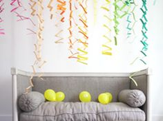 Zig zag accordion streamers in Decoration for babies, children and adults parties, for events such as anniversaries or birthdays or dinners