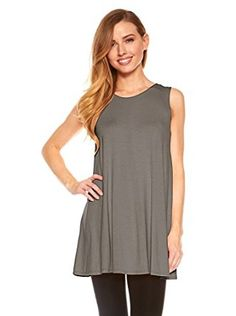 $ 13.99 Womens Sleeveless A-Line Tank Top Tunic Solid Basic Long Flowy Top Color: Grey .Tunic Top Perfect for Casual,Normal,Everyday,Party.This is a beautiful,cute and amazing top available at very cheap prices.Will be available in various colors and sizes.This can be worn during winters.fall,summer,spring.Womens Sleeveless A-Line Tank Top Tunic Solid Basic Long Flowy Top By Red Hanger at Amazon Women's Clothing store: