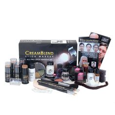Featuring CreamBlend Stick Makeup Mehron's All-Pro Makeup Kits come with all you need to create the look you're going for! From start to finish, this one-stop kit includes step-by-step tips, tools and