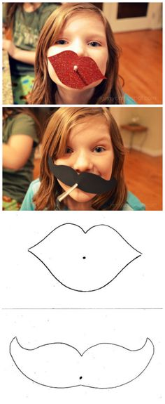 Free lips and mustache template   Valentine's Day   classroom valentine