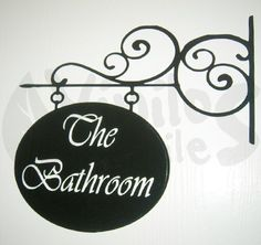 "Vinil decorativo de Letrero con herrería de ""The Bathroom"" para baño 1"
