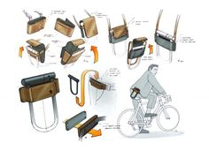 Bike U lock carrier. High End Cars, Industrial Design Sketch, Old Bikes, Bike Accessories, Cycling Bikes, Visual Communication, Simple Lines, Laptop Bag, Designs To Draw