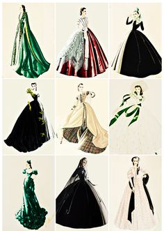 vintagegal:Walter Plunkett design sketches for Vivien Leigh's role as Scarlett O'Hara in Gone With the Wind (1939)