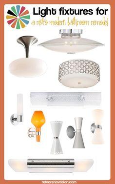 Lights for a retro modern bathroom remodel