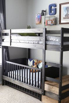 Swap a crib for the bottom bed on the IKEA Mydal bunk bed. Wonder if it would work for Kura bed from Ikea? Mydal Ikea, Ikea Stuva, Kids Bunk Beds, Bunk Bed Crib, Boys Bunk Bed Room Ideas, Bunk Beds For Toddlers, Bunkbeds For Small Room, Boys Shared Bedroom Ideas, Bunk Bed Ideas For Small Rooms