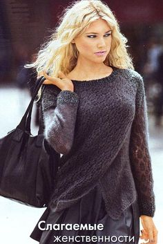 Пуловер с эффектом запаха. Модели для молодежи CROCHET AND KNIT INSPIRATION: http://pinterest.com/gigibrazil/crochet-and-knitting-lovers/