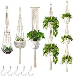 ERCINS - 5 Pack Macrame Plant Hangers - with 5 Hooks - Different Tiers - Handmade Cotton Rope - Hanging Planters Set Flower Pots Holder Stand - for Indoor Outdoor Boho Home Decor