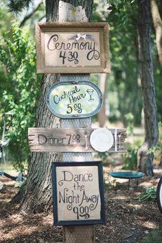 Rustic vintage-inspired wedding program sign