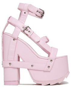 Nightcall Platform Heels in Pink-Leave one heck of an impression with these sexy Nightcall Platform Heels by Y. These bondage style platform heels are designed with pastel pink colored PU leather material with bondage style upper, adjustab Pink Sandals, Pink Shoes, Shoes Heels, Heeled Sandals, Cute Shoes, Me Too Shoes, Wrap Shoes, Vegan Shoes, Vegan Sandals