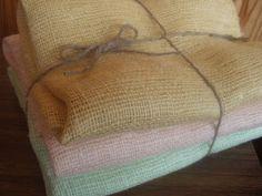 Charm Pink Burlap Pure Linen Fabric Decorator by VilendaLinen, $5.50