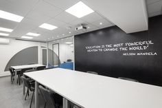 Office architectural & interior design realised by STIRIXIS Group for the renovation of Marine Tours SA. Inspirational quotes placed to achieve employee engagement. Office Interior Design, Office Interiors, White Office Furniture, Glass Partition, Common Room, Excursion, Tours, Strategic Planning, Furniture Making