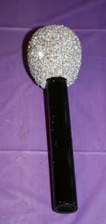 What rock star doesn't have a microphone? Our Hannah Montana Rock Star birthday party wouldn't have been complete without sparkly micropho. Karaoke Party, Music Party, 90s Party, Disco Party, Disco Ball, Party Time, Diy Microphone, Rockstar Birthday, 9th Birthday
