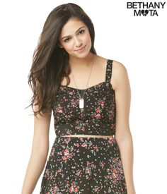 Floral Bustier Top from Bethany Mota Collection at Aeropostale