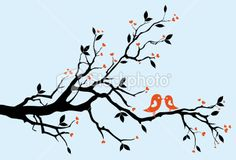 bird on branch silhouette - Google Search