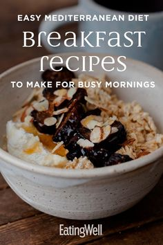 health breakfast Start your day off right with these fast and easy Mediterranean diet breakfast recipes. Perfect for busy mornings, these simple recipes can be made ahead of time for easy grab-and-go breakfasts. Mediterranean Breakfast, Easy Mediterranean Diet Recipes, Mediterranean Dishes, Mediterranean Diet Shopping List, Med Diet, Mederteranian Diet, Pin On, Special Recipes, Calories