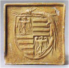 Kályhacsempe Zsigmond király címerével és a Sárkányrend jelvényével / Kachel mit Wappen von König Sigismund und Insignium des Drachenordens