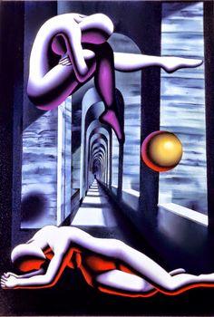 by Mark Kostabi Psychedelic Art, Mark Kostabi, Instalation Art, Gallery Of Modern Art, Surrealism Painting, Painting Art, Paintings, Flash Art, Famous Art