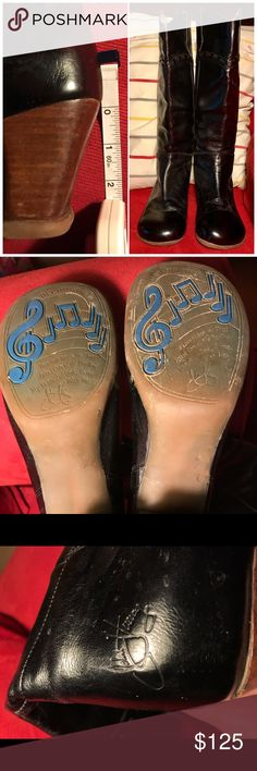 John Fluevog Operettas Sopranos Argolos boots Quirky amazing John Fluevog Sopranos Argolos from his Operettas collection. Purchased at the Fluevog shop on Prince Street in NYC, worn a half dozen times. Could stand to be shined but virtually no wear on the heels, only natural creasing in the leather and clean footbeds. 8.5 but can fit an 8 (as I'm a standard 8). Give 'em a good home. Offers welcome, no trades please. John Fluevog Shoes Heeled Boots
