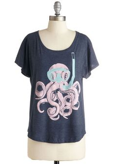 All Snorkel and No Play Tee. Embrace the mystery behind how a pink octopus could possibly snorkel each time you flaunt this quirky T-shirt! #blue #modcloth