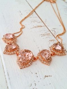 Blush pink necklace | rose gold blush pink bridal necklace by EldorTinaJewelry | http://etsy.me/1Hx1gy0