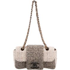 Pre-owned Chanel Tweed Fantasy Flap Bag (£940) ❤ liked on Polyvore featuring bags, handbags, shoulder bags, pink, white shoulder bag, shoulder handbags, pink shoulder handbags, white hand bags and handbag purse