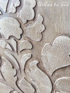 I started playing around with raised bondo stencils because I dont care for wood appliques. I want a more authentic raised detail and something that wont come o… Stencil Diy, Stencil Painting, Stencil Designs, Leaf Stencil, Diy Furniture Redo, Diy Outdoor Furniture, Rustic Furniture, Deco Furniture, Furniture Projects