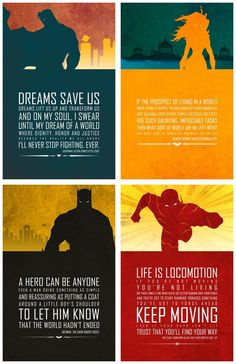 Justice League - such greatness in all of these... the design, color and most of all, a strong message.