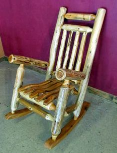 "CEDAR LOG ROCKING CHAIR This is a comfy rocking chair made from hand peeled cedar logs. This price is for one rocking chair Sturdy and durable Measures 25"" W x 37 D x 44 H Finished with clear matte furniture grade finish Custom sizes can be made upon request FREE SHIPPING to"