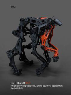 retriever  zbrush / keyshot Robot Concept Art, Concept Weapons, Robot Design, 3d Design, Rpg Cyberpunk, Robot Animal, Hard Surface Modeling, Arte Robot, Mechanical Design