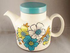 Funky retro vintage Barratts of Staffordshire Limeflower Teapot | eBay