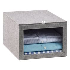 Grey Drop-Front Shirt Box Container Store (for storing clutches) Grey Dro. Grey Drop-Front Shirt Box Container Store (for storing clutches) Grey Drop-Front Shirt Box Container Store (for storing clutches) Purse Storage, Closet Storage, Storage Bins, Bedroom Storage, Farmhouse Storage Boxes, Elfa Closet, How To Organize Your Closet, Fabric Boxes, New Cabinet