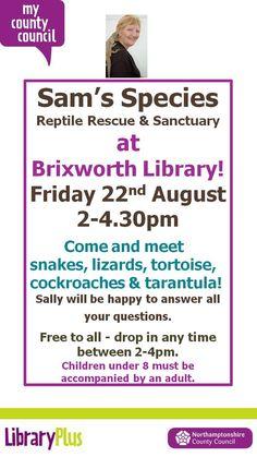 Sam's Species visit Brixworth Library.