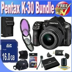 Pentax K30 Digital Camera with 18-55mm AL Lens Kit (Black) + 16GB SDHC Class 10 Memory Card + Extended Life Battery + External Rapid Travel Quick-Charger + USB Card Reader + Memory Card Wallet + Shock Proof Deluxe Case + 3 Piece Professional Filter Kit + Accessory Saver Bundle! by BVI. $737.39. This Kit Includes! 1- Pentax K30 Digital Camera with 18-55mm AL Lens Kit (Black) w/ All Supplied Accessories  1- 16GB SDHC Class 10 Memory Card 1- Extended Life Battery (Great For Vacatio...