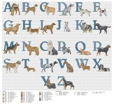 Cross stitch / Point de croix / Punto de cruz / Punto croce - alphabet / abécédaire / abecedario / alfabeto - Dog's ABC (Permin)