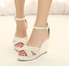 Latest Designs Peep-toe Buckle Lace Wedge Sandals $11.53.  For the flower girls