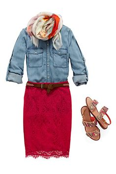 spring fashion - lace outfits - red lace pencil skirt!